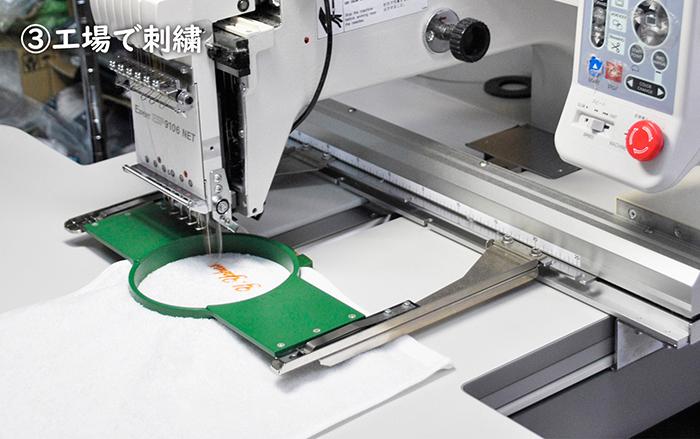 工場で刺繍